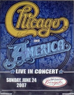 Chicago and America autographed concert billboard