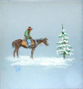 Cowboy in the Snow by Olaf Wieghorst