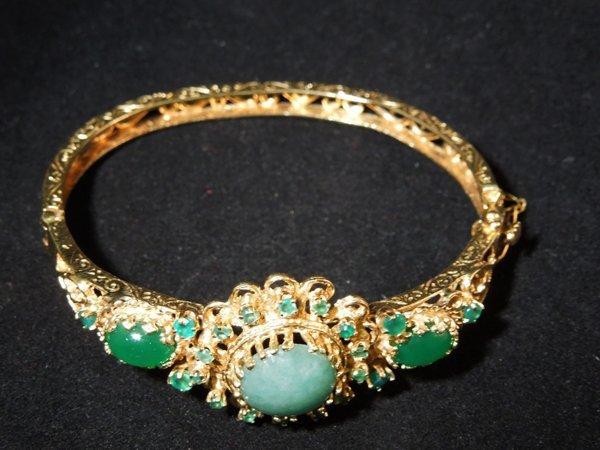 1: Emerald and Chrysoprase 14k Bracelet
