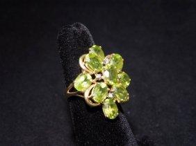 Retro Peridot And Diamond 14k Gold Ring
