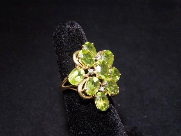 3: Retro Peridot and diamond 14k gold ring