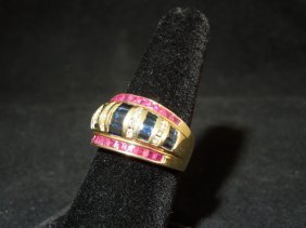 23: 14kyg Ruby Sapphire and Diamond Ring