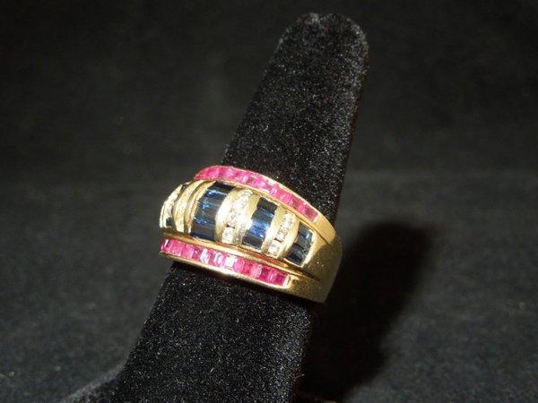 23: 14kyg Ruby Sapphire and Diamond Ring