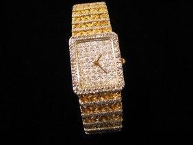 164: 18kyg Ladies Lucien Piccard Diamond Watch