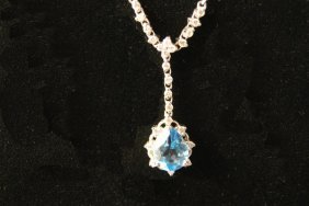 14kwg Aquamarine And Diamond Pendant