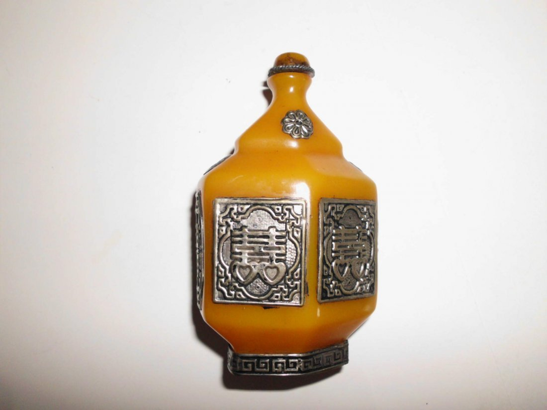 23: Old Tibetan Jade and White Copper Snuff Bottle