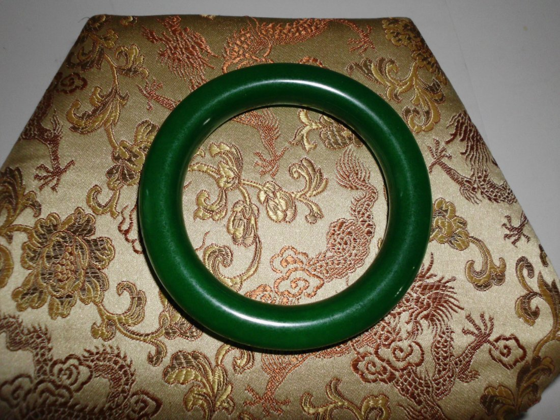 66: Vintage  Jade Bangle Dark Green