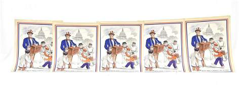 5 Rare Vintage Uncle Sam and Monkey Posters J.H. King