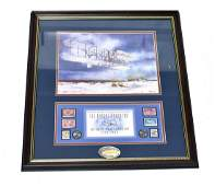 Framed Wright Brothers Print with Stamps
