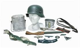 Original WWII German Helmet and Meal Kit, U.S. Military