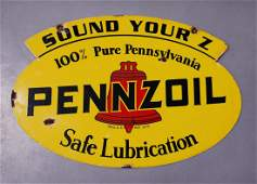 1947 PENNZOIL Sound Your Z Motor Oil DS Metal Sign