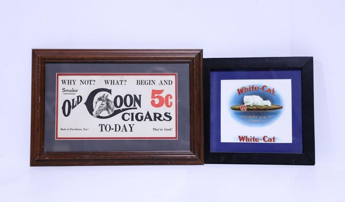 "Two Vintage Framed Cigar Advertising Prints, 12"" W x"