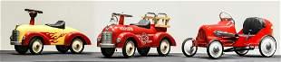 Three Modern Issue Children's Push-Pedal Cars