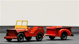 1950s Marx Willys Jeep with Trailer Pressed Steel Toy