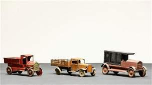 Three Vintage 1920s-1930s Pressed Steel Trucks