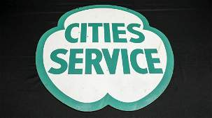 c. 1960s Large Cities Service Double-Sided Sign