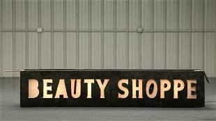Beauty Shoppe Milk Glass Lighted Sign