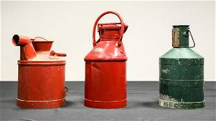 Three Vintage 5-Gallon Oil Containers