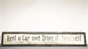 1930s Large Rent-A-Car Hand Painted Sign