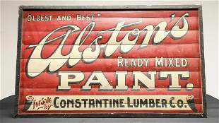 Alston's Paint Hand Painted Advertising Sign c. 1930