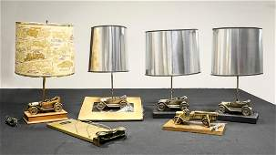 Chevrolet Dealership Items, Four Table Lamps, Wall