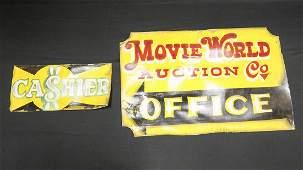 Two Movie World Hand-Painted Signs by Von Dutch