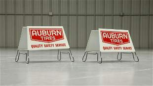 Lot of 2 Vintage NOS Auburn Tire Display Stand Signs