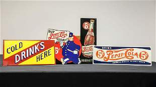 Four Pepsi-Cola Advertising Signs - Reproductions