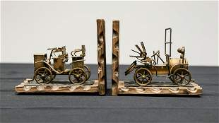 Antique Car Book Ends - Americana Folk Art