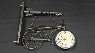Decorator Bicycle Sign with Clock
