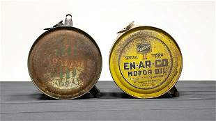 1930s Two Large Pour-Ezee Oil Cans