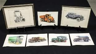 Seven Vintage Vehicle Duesenberg and Mack Trucks Prints