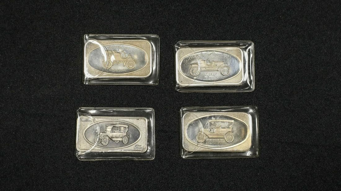 Collection of Four Vintage Car Silver Ingots