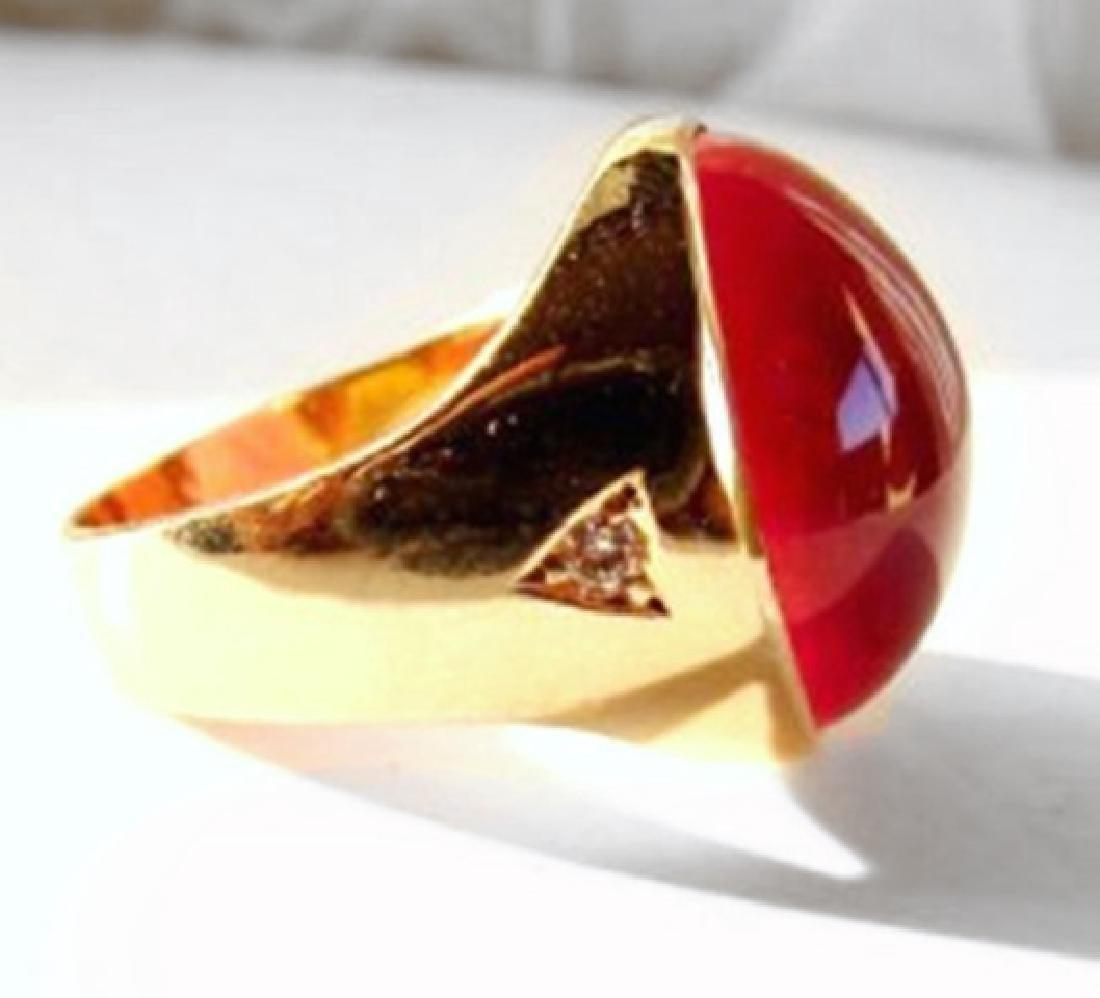 Star Ruby Cabochon/ Diamond Men Ring 29.84Ct 14K Y/g - 3