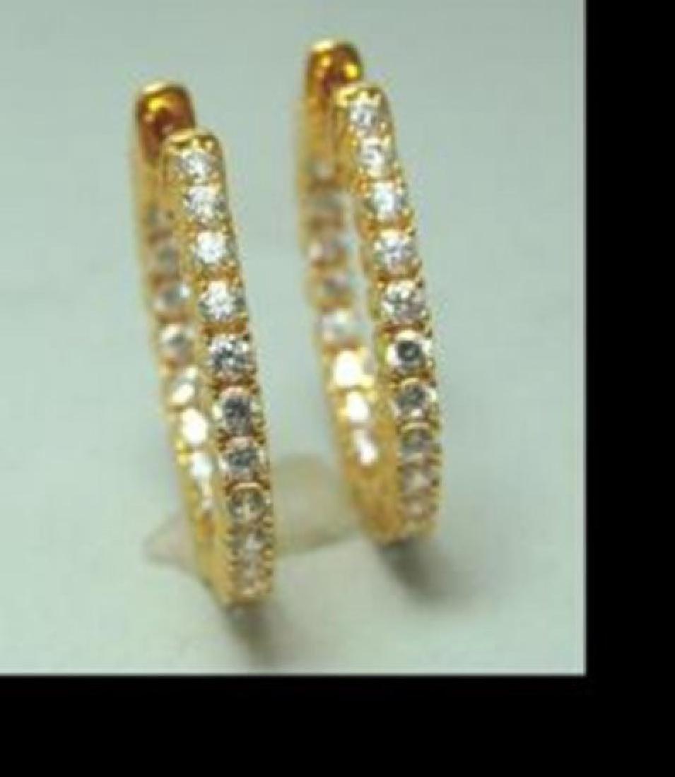 Creation Diamonds 1.12Ct Earrings 18k Y/g Overlay - 2