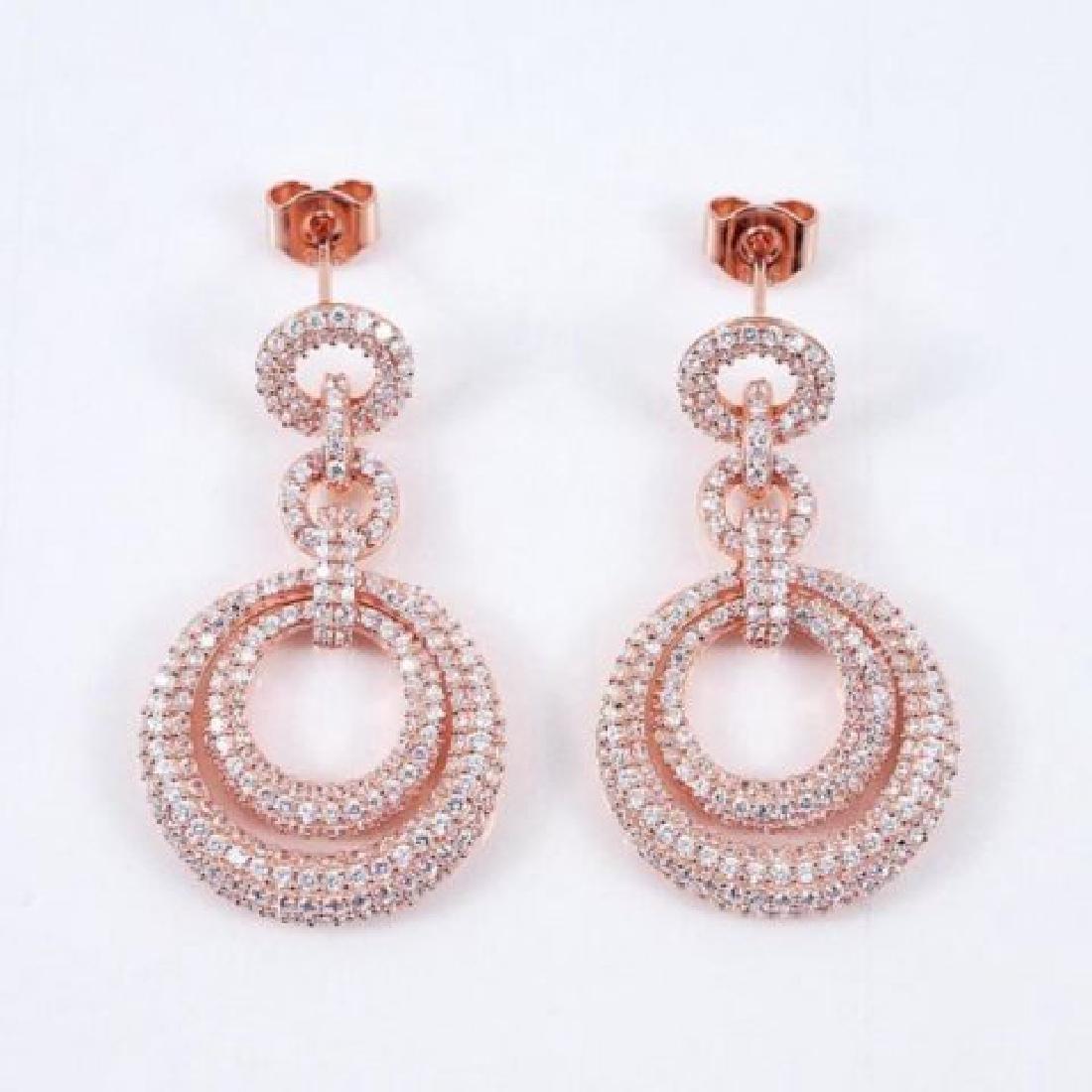 Creation Diamond Earring 4.12Ct 18k R/g Overlay - 2