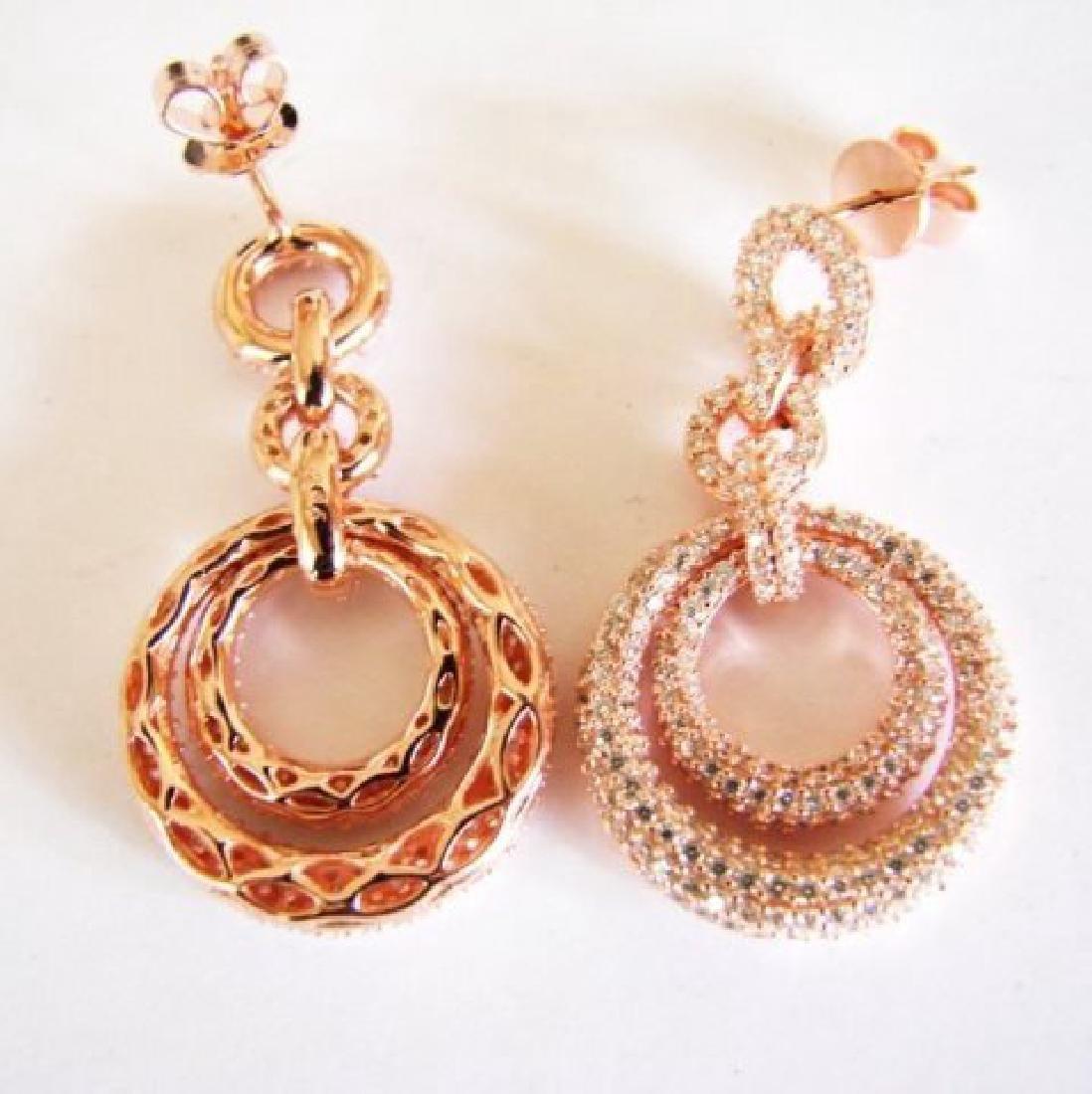 Creation Diamond Earring 4.12Ct 18k R/g Overlay - 3