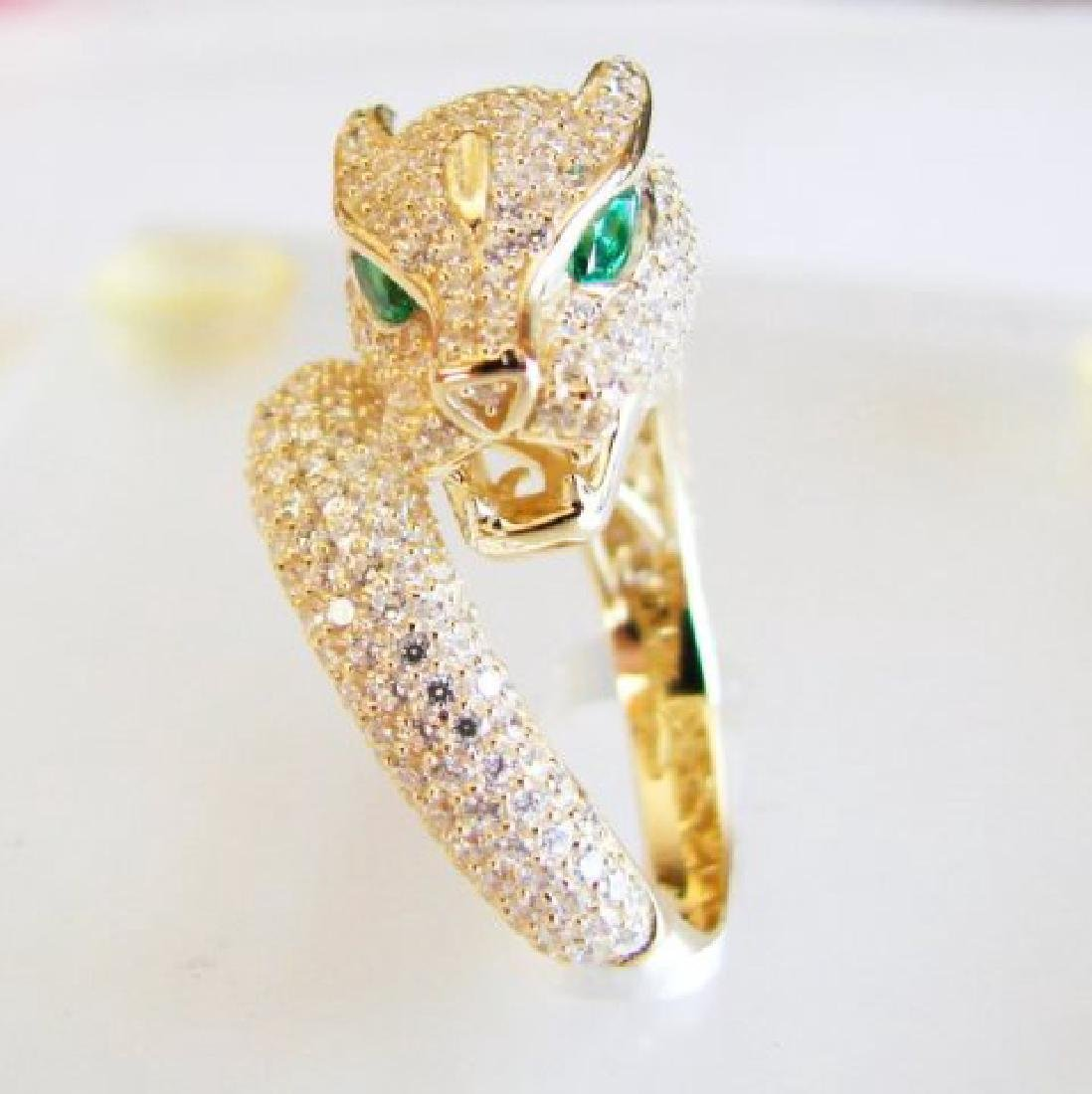 Creation Diamond Juguar Ring 3.65Ct18k Y/G Overaly - 2