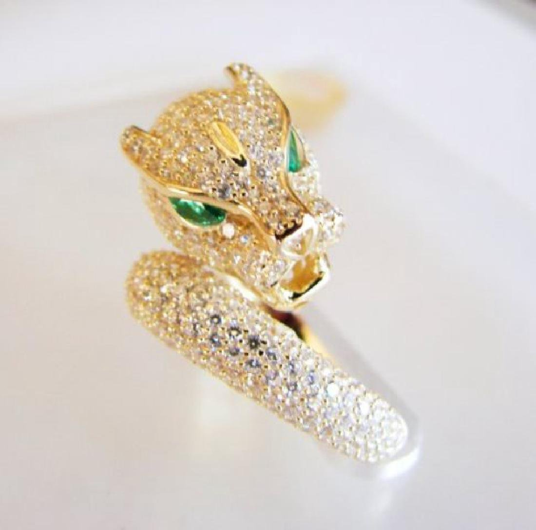 Creation Diamond Juguar Ring 3.65Ct18k Y/G Overaly - 4