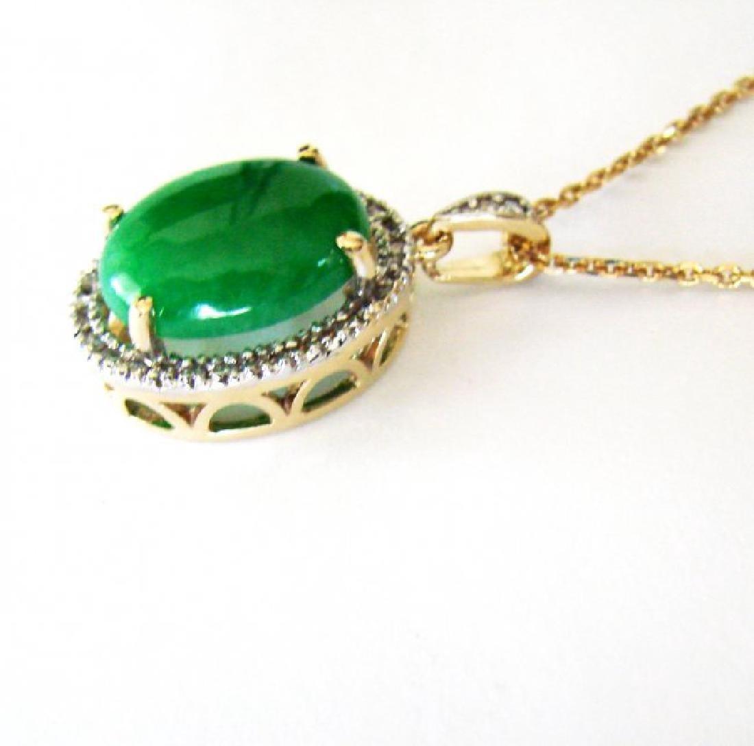 Diamond/Chinese Jade Grade A  Pendant  8.38Ct 14k Y/g