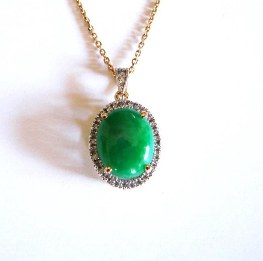 Diamond/Chinese Jade Grade A  Pendant  8.38Ct 14k Y/g - 3