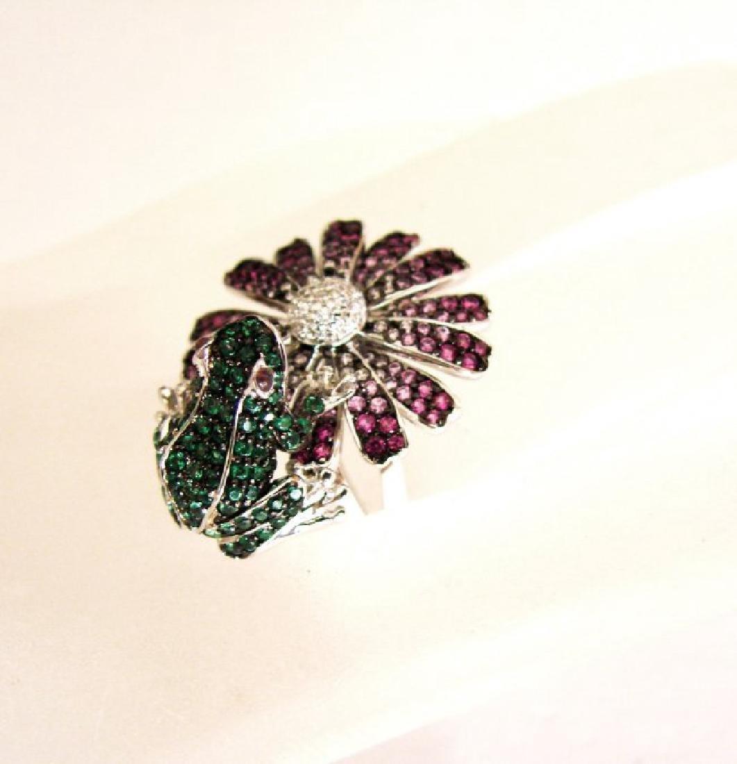 Creation, Dia/Multi-Color Frog/Flower 9.15Ct 18k W/g - 3