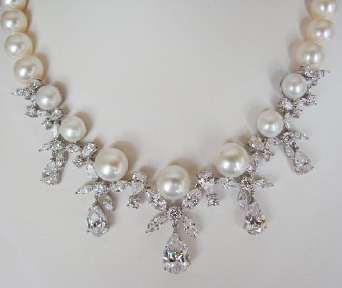 Culture Pearl Creation Diamond 45.30Ct 18k W/g Overlay