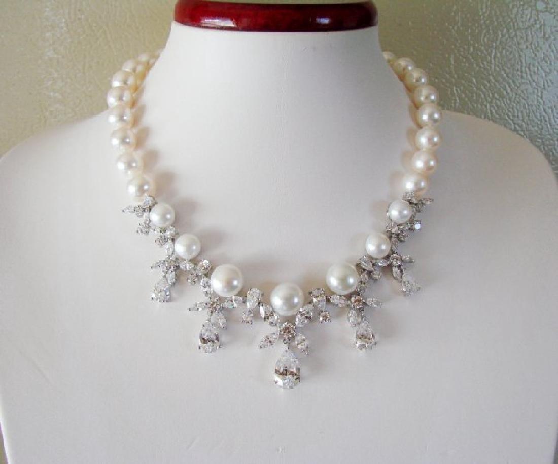Culture Pearl Creation Diamond 45.30Ct 18k W/g Overlay - 2