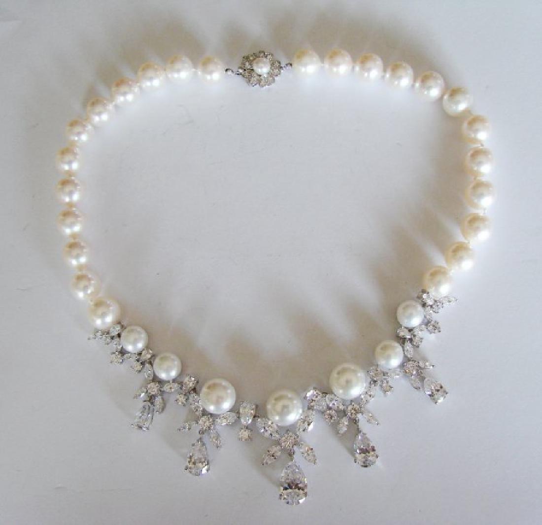 Culture Pearl Creation Diamond 45.30Ct 18k W/g Overlay - 3