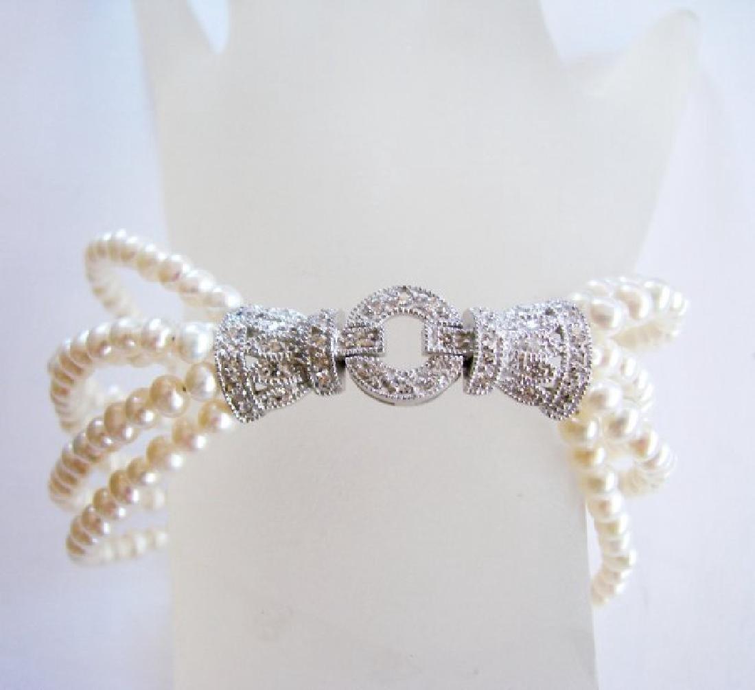 Bracelet Pearl Diamond Creation .29Ct 18k W/g Overlay
