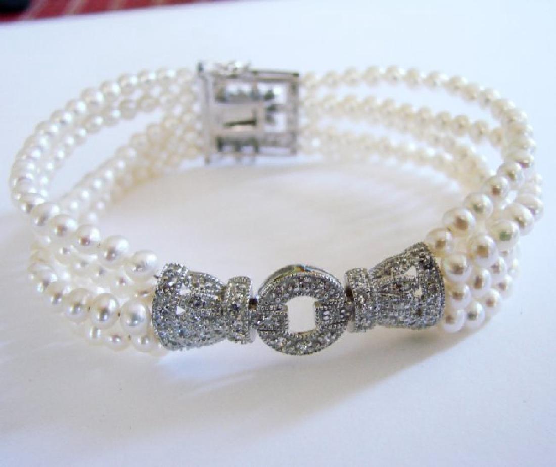 Bracelet Pearl Diamond Creation .29Ct 18k W/g Overlay - 3