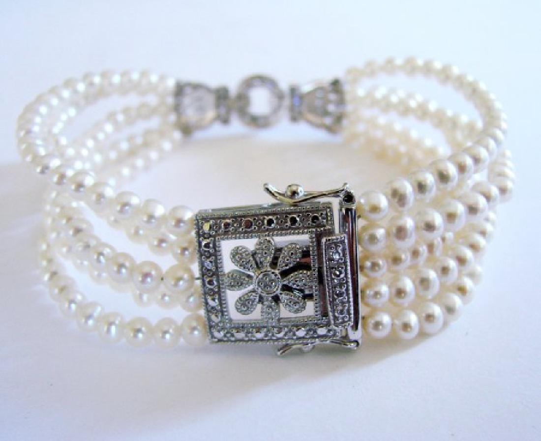 Bracelet Pearl Diamond Creation .29Ct 18k W/g Overlay - 4