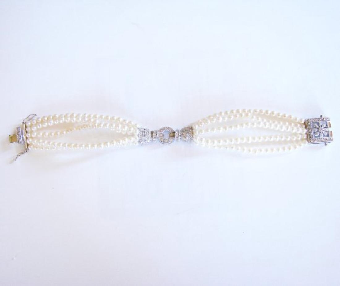 Bracelet Pearl Diamond Creation .29Ct 18k W/g Overlay - 5
