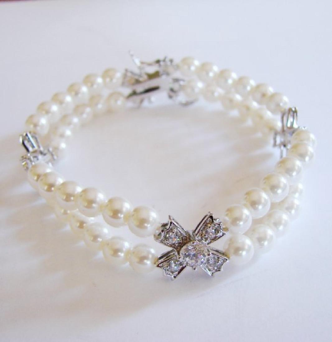 Bracelet Pearl Diamond Creation 4.65Ct 18k W/g Overlay - 5